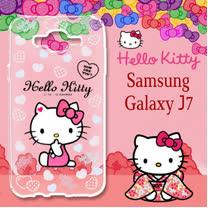 三麗鷗授權 Hello Kitty 凱蒂貓 Samsung Galaxy J7 / J700 5.5吋 浮雕彩繪透明手機殼(心愛凱蒂)