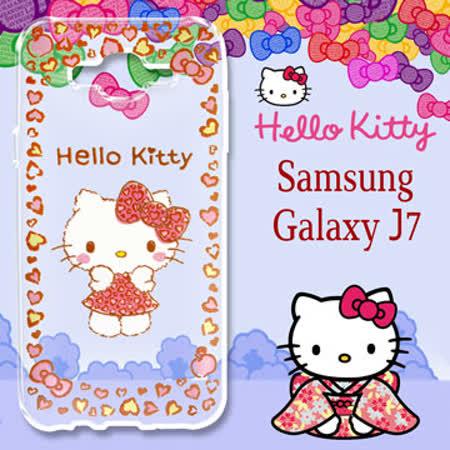 三麗鷗授權 Hello Kitty 凱蒂貓 Samsung Galaxy J7 / J700 5.5吋 浮雕彩繪透明手機殼(甜心豹紋)