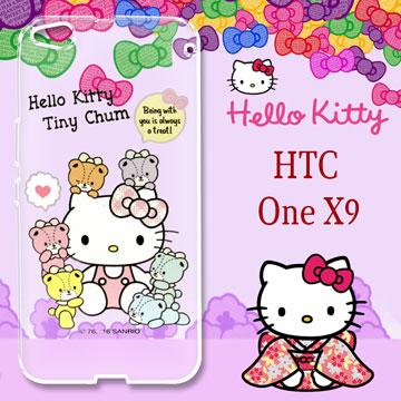 三麗鷗授權 Hello Kitty 凱蒂貓 HTC ONE X9  浮雕彩繪透明iPhone殼(熊好伴侶)