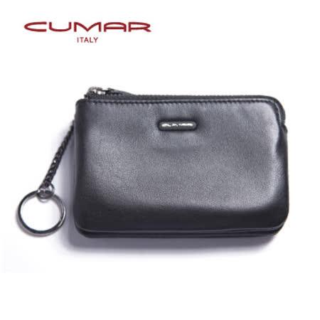 CUMAR 義大利小牛皮零錢/鑰匙包-黑色