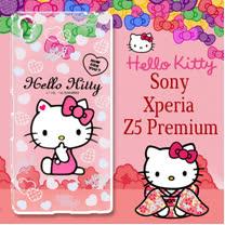 三麗鷗授權 Hello Kitty 凱蒂貓 SONY Xperia Z5 Premium / 5.5吋  浮雕彩繪透明手機殼(心愛凱蒂)
