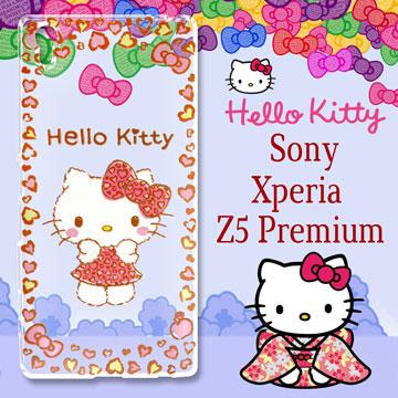 三麗鷗授權 Hello Kitty 凱蒂貓 SONY Xperia Z5 Premium / 5.5吋 浮雕彩繪透明手機殼(甜心豹紋)