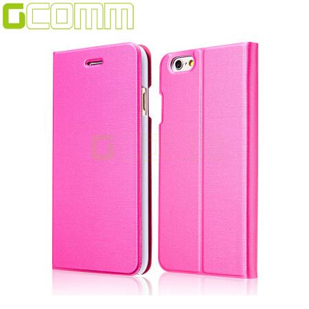 GCOMM iPhone6/6S 4.7吋 金屬質感拉絲紋超纖皮套 嫩桃紅