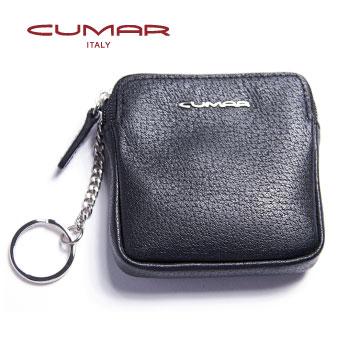 CUMAR 紳士義大利牛皮~方形零錢鑰匙包~黑色