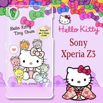 三麗鷗授權 Hello Kitty 凱蒂貓 Sony Xperia Z3 / E6553 5.2吋  雕彩繪透明手機殼(熊好朋友)
