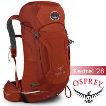【美國 OSPREY】新款 Kestrel 28L 小鷹級 輕量健行登山背包(3D立體網背/附背包套/緊急哨/登山杖扣)自助旅行.出國打工旅遊_磚紅 R