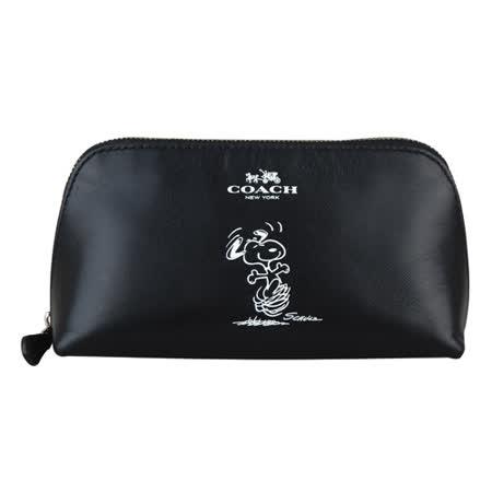 COACH SNOOPY聯名款皮革拉鍊萬用化妝包(黑)