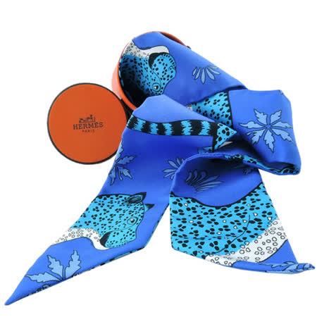HERMES 愛馬仕豹紋頭willy絲巾領結(藍)
