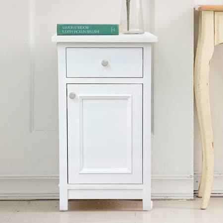 [自然行]  Snow White初雪白的細綿綿 手工彩繪收納矮櫃 (純粹白/實木免組裝/單門抽屜/客餐廳邊櫃/收納茶几/臥室床頭櫃/安全環保塗裝)