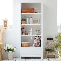 [自然行] 幸福雜貨書櫃(純粹白/實木免組裝/大單抽屜/四層置物/餐櫥雜貨/圖書收納)