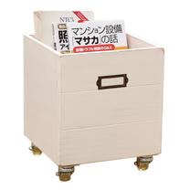 [自然行] 鄉村雜貨收納箱+輪子 一入(南法象牙白色/安全環保塗裝)