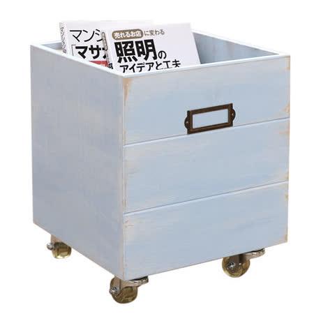 [自然行] 鄉村雜貨收納箱+輪子 一入(南歐鄉村藍色/安全環保塗裝)
