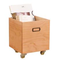 [自然行] 鄉村雜貨收納箱+輪子 一入(溫暖柚木色/安全環保塗裝)