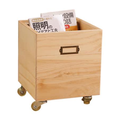 [自然行] 鄉村雜貨收納箱+輪子 一入(扁柏自然色/安全環保塗裝)