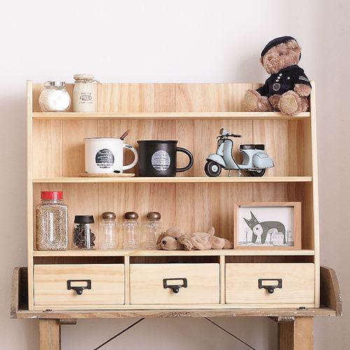 CiS^~自然行^~實木  雜貨櫃M款 ^(扁柏自然色安全環保塗裝免組裝實木收納化妝櫃文具