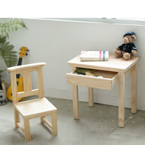 [自然行] 原木兒童學習桌+Sunny Chair(扁柏檜木椅/水洗白色/安全環保塗裝)