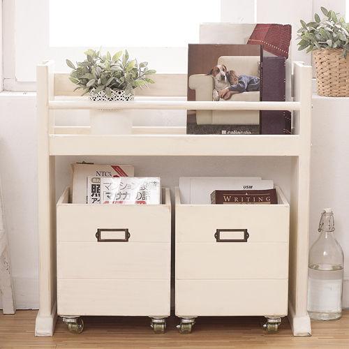 ^~自然行^~ 移動式收納箱書架 ^(南法風格象牙白色安全環保塗裝免組裝實木收納書架CD架