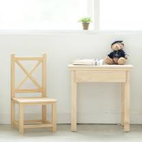 [自然行] 原木兒童學習桌+艾莉絲椅(扁柏檜木椅/水洗白色/安全環保塗裝)