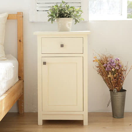 [自然行] Bonjour 原木床頭櫃 (復古白色)