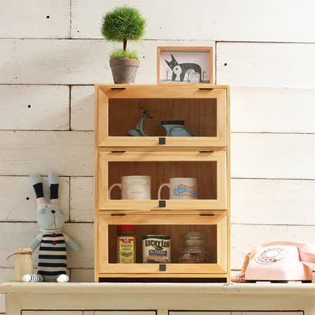 [自然行] 原木咖啡櫥櫃(扁柏自然色/原木免組裝家具/三層置物/馬克杯收納/瓶罐收納/薰香收納/安全環保塗裝)