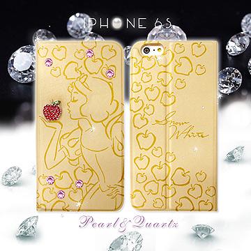 迪士尼 格林童話 iPhone 66s 4.7吋 貼鑽浮雕皮套^(白雪公主^)