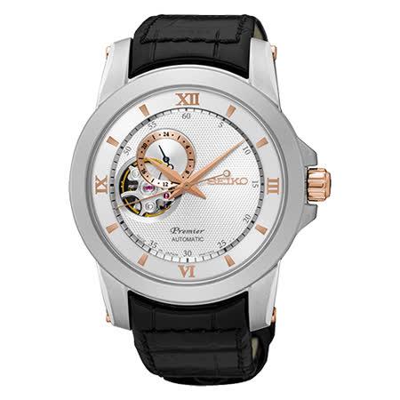 SEIKO 精工 Premier 開心系列羅馬世紀機械皮帶腕錶/41mm/4R39-00P0KS(SSA322J1)