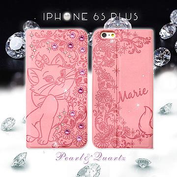 迪士尼 貓兒歷險記 iPhone 66s plus 5.5吋 貼鑽浮雕皮套^(瑪麗貓^)