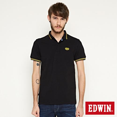 EDWIN 小領羅紋短袖POLO衫~男~黑色