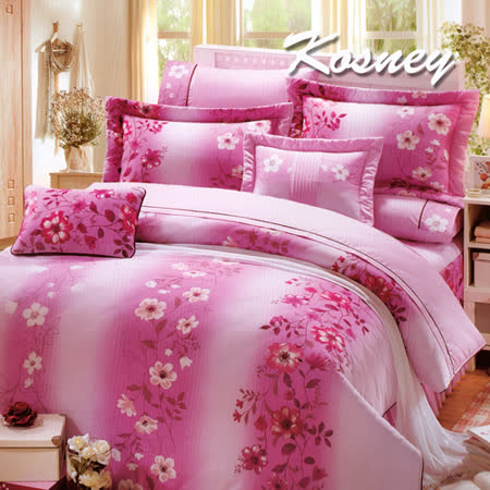 《KOSNEY 戀愛季節》加大100%活性精梳棉六件式床罩組台灣製