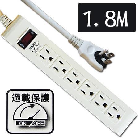 悠麗電腦1開6插延長線1.8M SD-1632-6