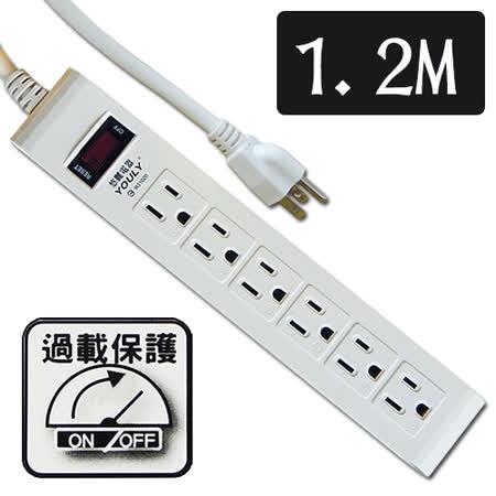 悠麗 電腦1開6插延長線1.2M SD-1632-4