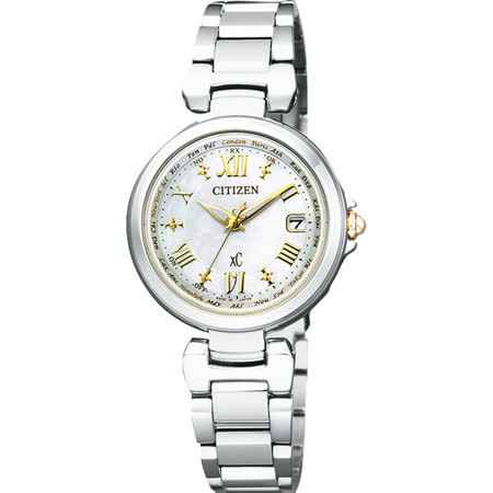 CITIZEN XC 羅馬戀曲光動能電波腕錶-珍珠貝x銀/28mm EC1035-56W