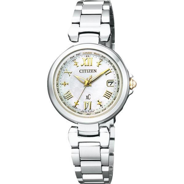 CITIZEN XC 羅馬戀曲光動能電波腕錶~珍珠貝x銀28mm EC1035~56W