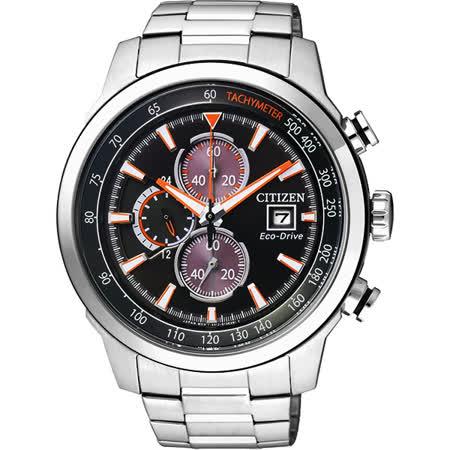 CITIZEN Eco-Drive 光動能疾速領先計時腕錶-黑/45mm CA0574-54E