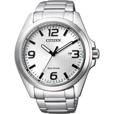 CITIZEN Eco-Drive 光動能紳士品味時尚腕錶-銀/43mm AW1430-51A