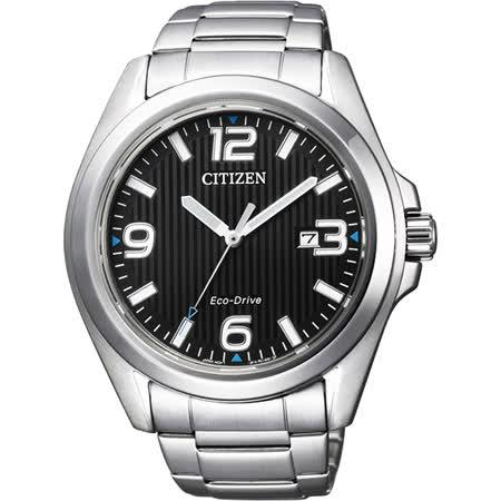 CITIZEN Eco-Drive 光動能紳士品味時尚腕錶-黑/43mm AW1430-51E