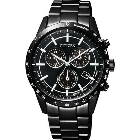 CITIZEN Eco-Drive 光動能城市風尚計時腕錶-黑/39mm BL5495-56E