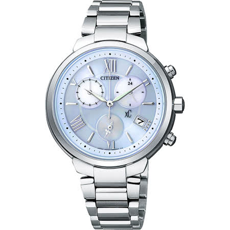CITIZEN XC 浪漫城市鈦金屬光動能計時腕錶-藍/35mm FB1330-55L