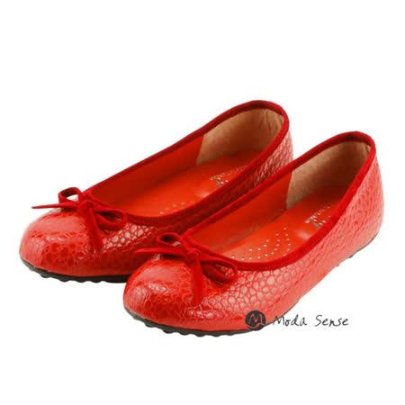 Moda Sense 女段 蛇皮紋路娃娃鞋-紅 M6S8-A308