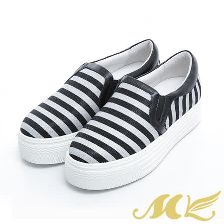 MK-真皮手作優選-經典條紋厚底休閒鞋-灰色