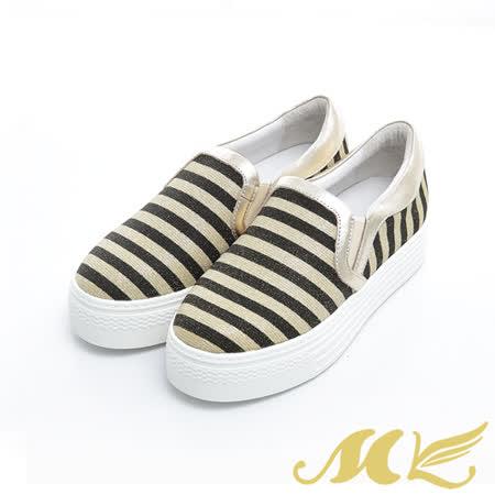 MK-真皮手作優選-經典條紋厚底休閒鞋-金色