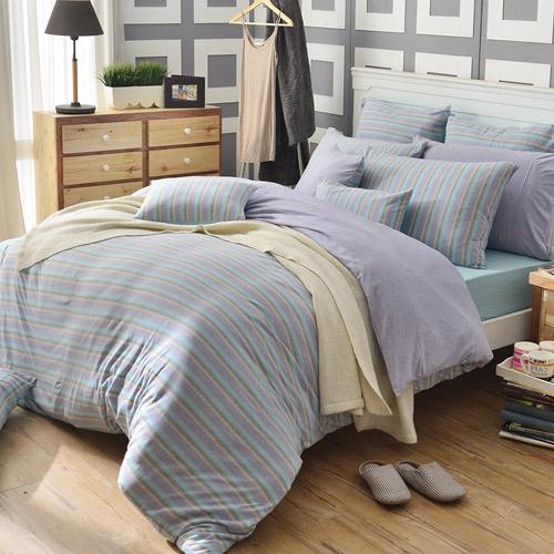 義大利La Belle~斯卡線曲~雙人四件式色坊針織被套床包組~薰衣草紫
