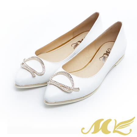 MK-台灣製真皮系列-不規則亮鑽尖頭平底娃娃鞋-白色
