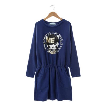T-PARTS 棉質洋裝-藍