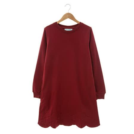 T-PARTS 棉質洋裝-磚紅