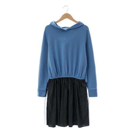 T-PARTS 棉質洋裝-藍黑