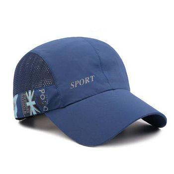 活力揚邑 涼感抗UV輕薄吸濕排汗透氣速乾防曬遮陽戶外慢跑路跑自行車登山英式棒球帽鴨舌帽 深藍