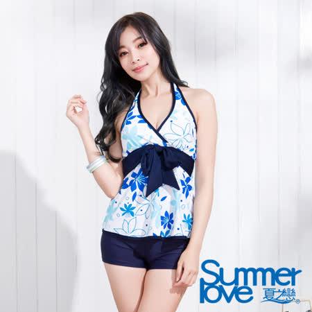 【SUMMERLOVE夏之戀】沁藍花卉長版二件式泳衣(S15756)