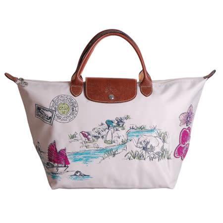 Longchamp Autour de Ha long 刺繡季節款短把水餃包(中/米紙)