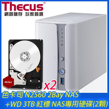 Thecus 色卡司 N2560 2Bay NAS+WD 3TB NAS碟*2(WD30EFRX)